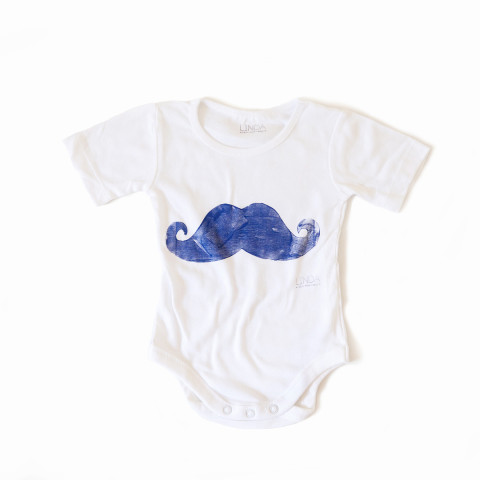 Handprinted Bodysuit Moustache